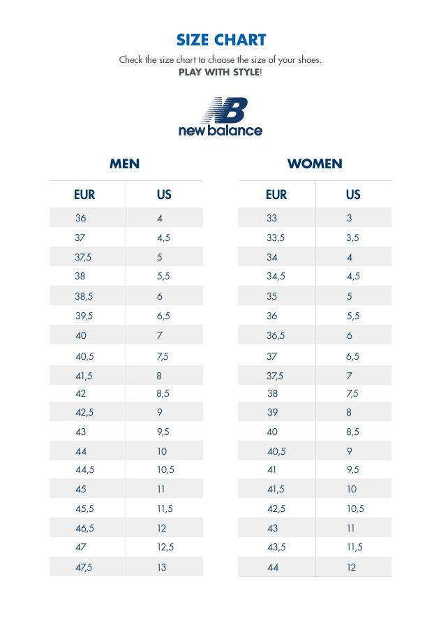 Size chart shoes New Balance | AW LAB